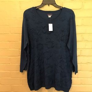 Navy Basic Editions Floral Top